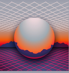 retro 80s futuristic design sunset mountains on vector image