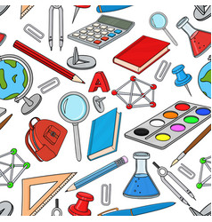 school doodle colored set stationery tools vector image