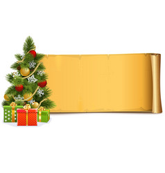Scroll with christmas tree vector