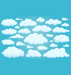 set clouds different shapes in sky vector image