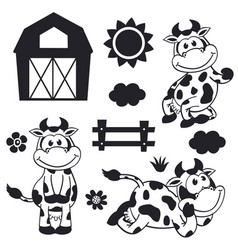 set isolated black funny cow and farm vector image