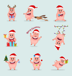 set little funny pig chinese new year year vector image