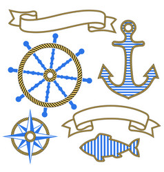 set nautical design elements anchor steering vector image