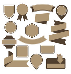 Set of cardboard emblems badges and ribbons vector