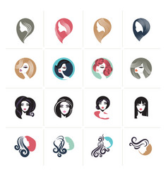 Set of flat design woman avatar icons vector