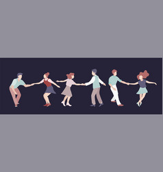 Set three young couple dancing swing rock or vector