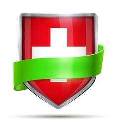 Shield with flag suisse and ribbon vector