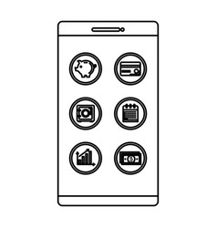 smartphone with business icons vector image