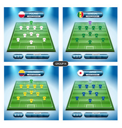 soccer team player plan group h with flags vector image