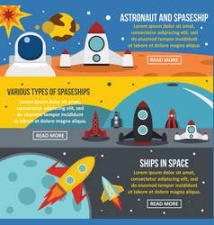 spaceship rocket banner horizontal set flat style vector image