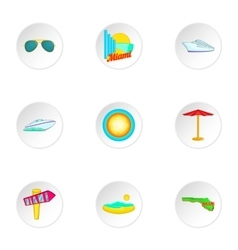 Stay in miami icons set cartoon style vector