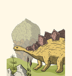 stegosaurus dinosaur in its habitat vector image