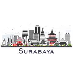 Surabaya indonesia skyline with gray buildings vector