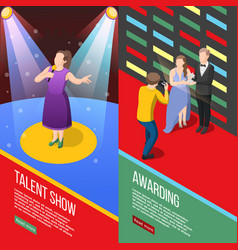 Talent show isometric banners vector