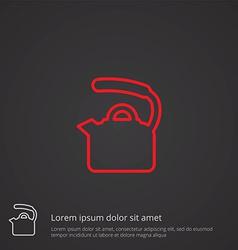 teapot outline symbol red on dark background logo vector image