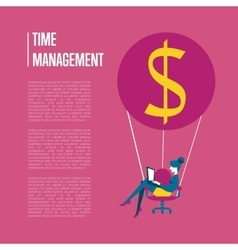 Time management banner with flying woman vector