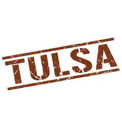 Tulsa brown square stamp vector