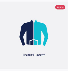 Two color leather jacket icon from fashion vector