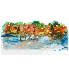 Watercolor nature landscape with lake and trees vector