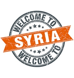 Welcome to Syria orange round ribbon stamp vector