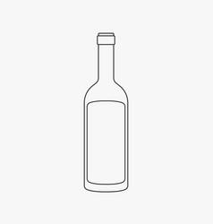 wine bottle flat black outline design icon vector image