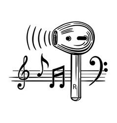 Wireless headphones and music notes sketch vector