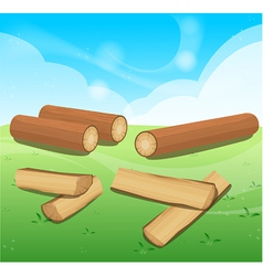 Wooden Logs Isolated objects vector image