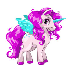 cute unicorn princess icon vector image