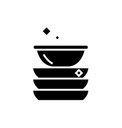 dishes icon black sign on vector image vector image