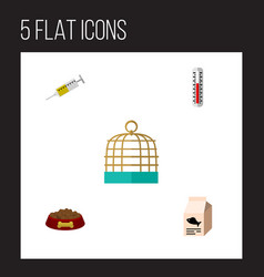 flat icon pets set of temperature measurement vector image
