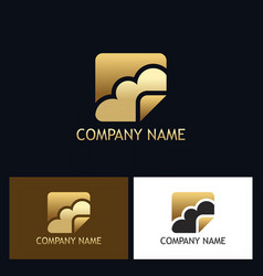 gold cloud technology logo vector image