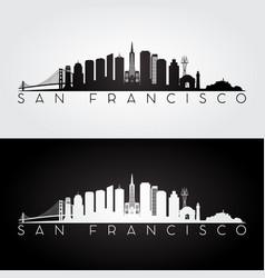 san francisco usa skyline and landmarks silhouette vector image