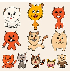 set of cute cat cartoon vector image