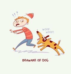 warning beaware of dog dog bite man vector image
