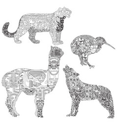 animals with ethnic pattern vector image