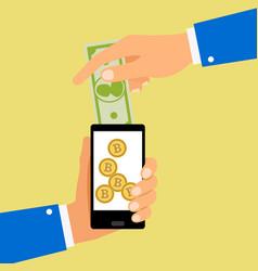 convert dollar to bitcoin coins vector image vector image