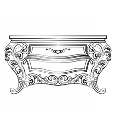 Elegant table with drawers rich ornamented vector image vector image