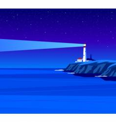 Lighthouse night vector