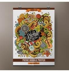Cartoon doodles picnic poster vector image