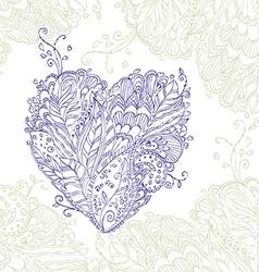 Happy Heart of doodle ornament in zentangle style vector image vector image