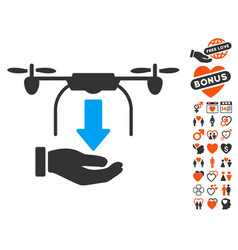 unload drone hand icon with love bonus vector image vector image