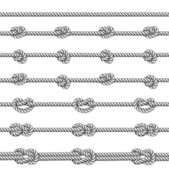White twisted rope border set vector image