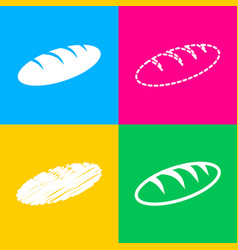bread sign four styles of icon on four color vector image