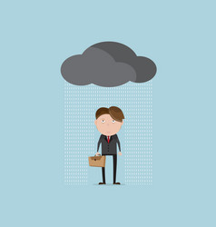 businessman wet and tried in rainy day cartoon vector image vector image