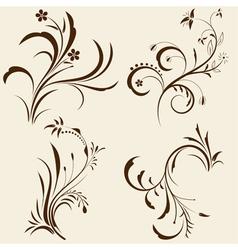 decorative floral ornaments vector image vector image