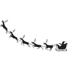 Santa Claus riding on a reindeer sleigh vector image vector image