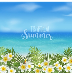 Tropical Background Palm Leaves Sea View vector image