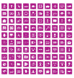 100 cyber security icons set grunge pink vector