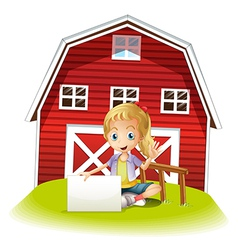 A girl sitting in front of the barnhouse holding vector image