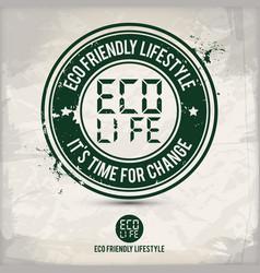 Alternative eco lifestyle stamp vector